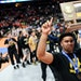 Junior heavyweight Gable Steveson celebrated Apple Valley's victory over Anoka in the team finals of the Class 3A wrestling championships.