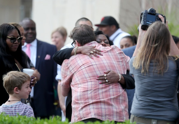 Valerie Castile, the mother of Philando Castile, hugged a supporter outside the Ramsey County Courthouse at the end of the day at the Jeronimo Yanez t