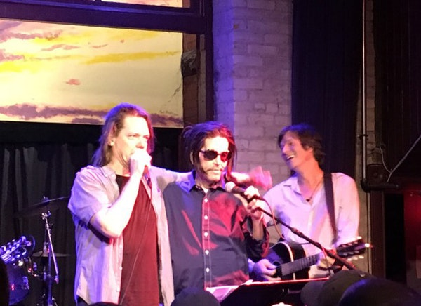 Grant Hart, middle, joined by Dave Pirner and Kraig Johnson at the Hook & Ladder in July.