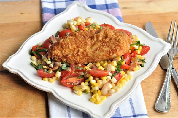 Pan-Fried Chicken Breasts With Corn, Tomato and Bacon Salad. MEREDITH DEEDS