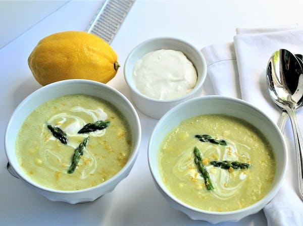 Lemony Cream of Asparagus Soup.