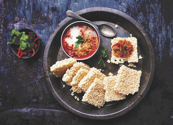 Rice Crackers With Pork-Shrimp Coconut Dip