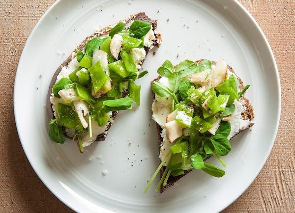 Perfect Peas on Rye Toast.
