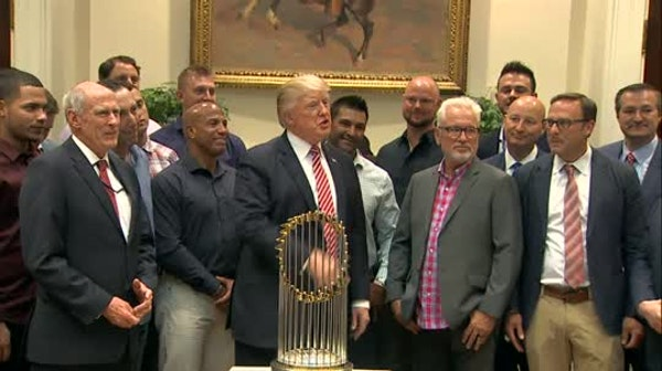 Trump welcomes Cubs, teases health care surprise