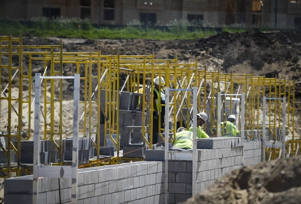 Construction continued at The Affinity at Eagan apartments, a 55 and older apartment building that was permitted during May, in Eagan, Minn., on Wedne