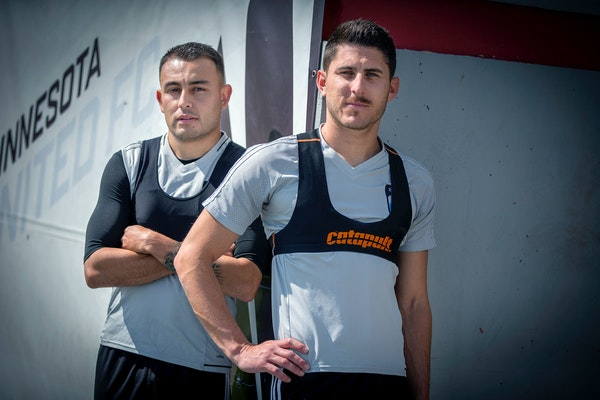 Miguel Ibarra, left, and Kevin Venegas wore a GPS device used in practices and games.