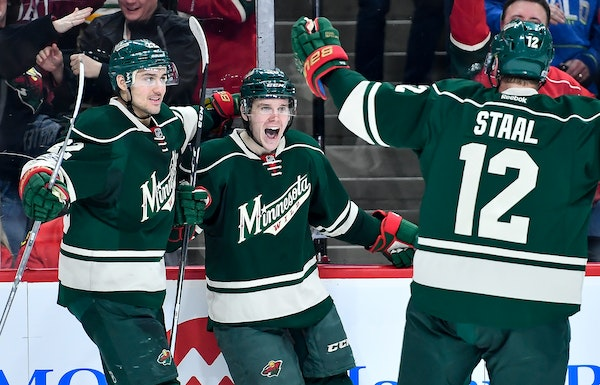 Erik Haula, center, is the newest member of the Vegas Golden Knights.