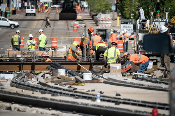 Light rail construction on 5th Street near US Bank Stadium has been tough on pedestrians and commuters alike.