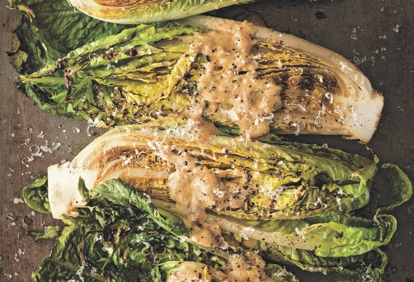 """Grilled Romaine With Anchovy-Mustard Vinaigrette. From """"Grill School: 150+ Recipes & Essential Lessons for Cooking on Fire"""""""