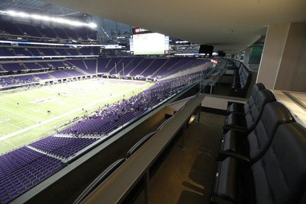 The view from one of two suites controlled by the Minnesota Sports Facilities Authority.
