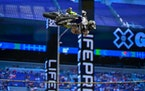 Jarryd McNeil won the motocross step up competition with a 44' jump Saturday.