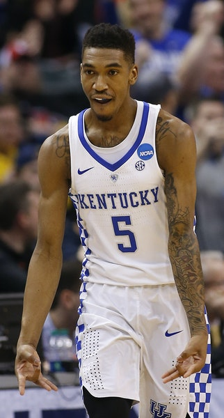 Kentucky Wildcats guard Malik Monk (5) reacts after hitting a three-pointer against Wichita State on Sunday, March 19, 2017, in Indianapolis, Ind. Sec