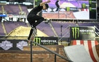 Alex Majerus competes in the men's skateboard street finals Saturday, July 15, 2017, at the X Games in Minneapolis. Majerus took second place in the e
