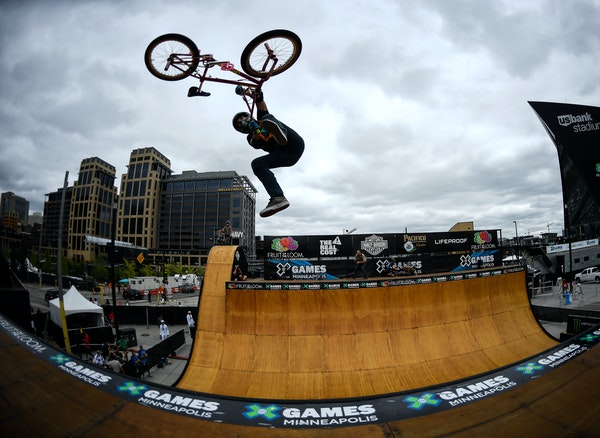 Extreme invasion: After performing a tail whip in practice, Jamie Bestwick went on to win silver in the BMX vert final.