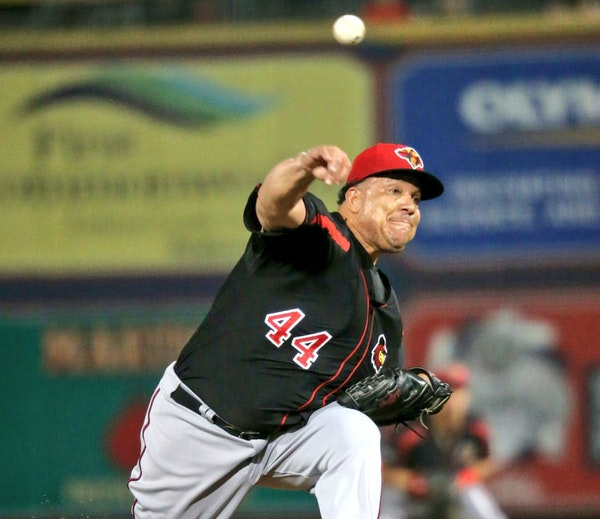 Bartolo Colon of the Rochester Red Wings pitches against the Lehigh Valley IronPigs in Allentown, PA on Thursday night.