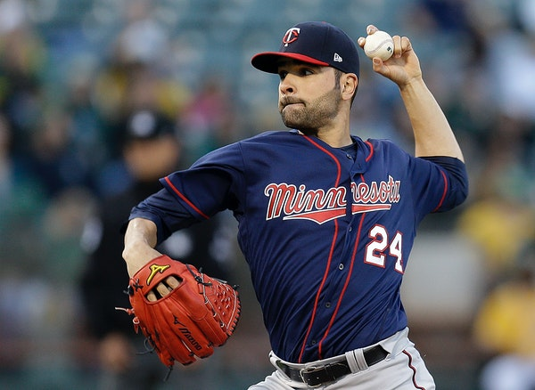 Minnesota Twins pitcher Jaime Garc�a works against the Oakland Athletics during the first inning of a baseball game Friday, July 28, 2017, in Oaklan