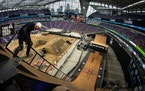 """Brazil's Leonardo Ruiz dropped into the """"Big Air"""" ramp during Friday afternoon's skateboarding big air qualifiers at US Bank Stadium during the X Game"""