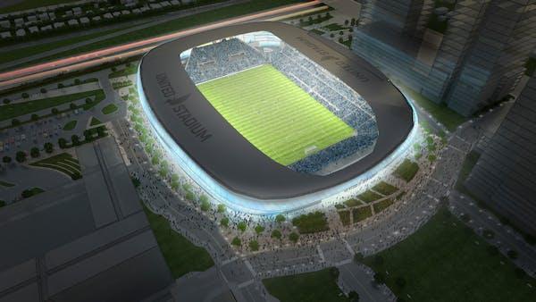 Rendering of the Minnesota United soccer stadium in St. Paul.