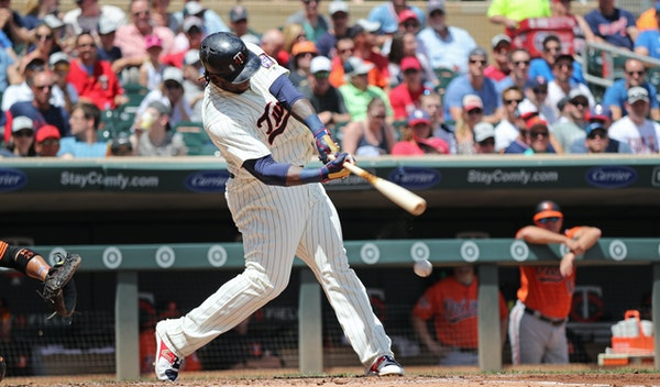 Miguel Sano homered to left field off Orioles pitcher Wade Miley in the third inning.