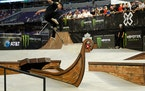 Alec Majerus was unsuccessful in his attempt to gap the sunken viking ship during his third run in the street finals Saturday.