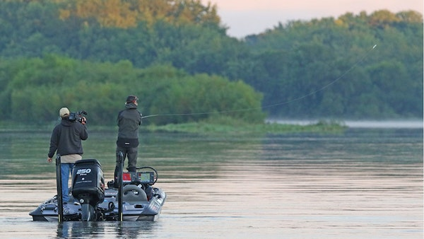 Seth Feider of Bloomington made his first cast of the day y on the Mississippi River in a B.A.S.S. Elite Series tournament in which he took second, qu