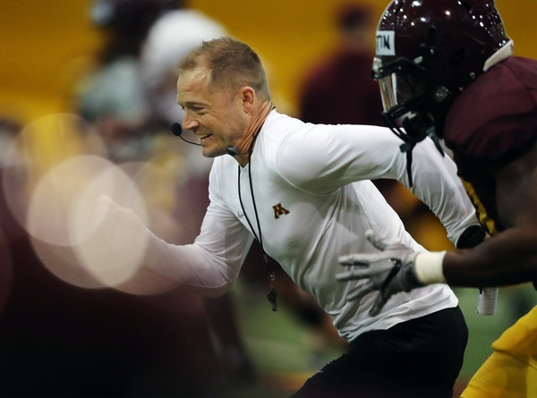 Gophers football coach P.J. Fleck (shown at a March spring practice) is not above having fun with his players or showing his intensity.