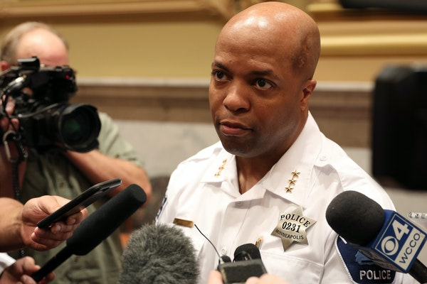 Acting Police Chief Medaria Arrodondo spoke with reporters Tuesday after a meeting of the Minneapolis City Council's Executive Committee.
