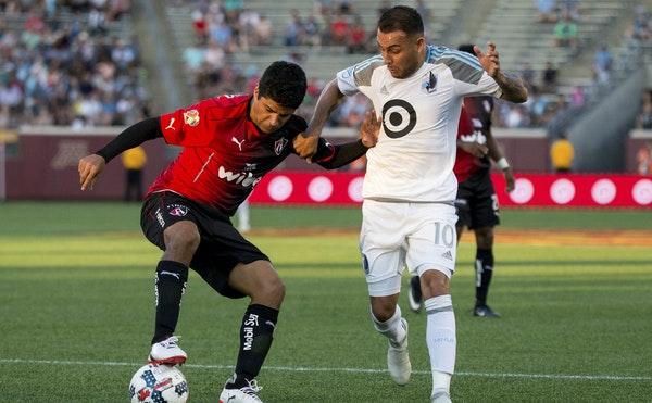 """Minnesota United's Miguel Ibarra, right, looks back to an April 15 draw against Houston, Wednesday's opponent, as a turning point. """"Overall, I t"""