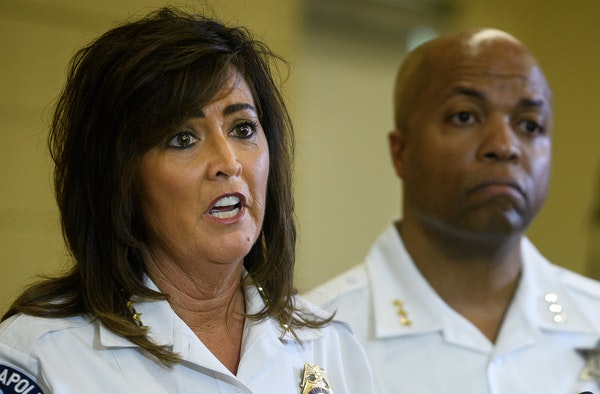 Minneapolis Police Chief Janee Harteau made her first remarks Thursday since the high-profile shooting death of Justine Damond. Behind Harteau was Ass