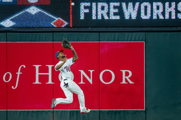Minnesota Twins' Byron Buxton catches the ball during a game against the Los Angeles Angels on Monday, July 3, 2017, at Target Field.