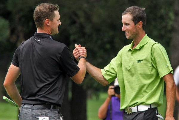Ryan Peterson, right, is one of 17-first-time State Open winners since 2000. He beat Cameron White, left, by a shot in 2012 at Bunker Hills.