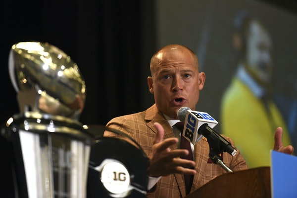 Minnesota NCAA college football head coach P.J. Fleck speaks at Big Ten Media Day in Chicago, Monday, July 24, 2017. (AP Photo/G-Jun Yam)