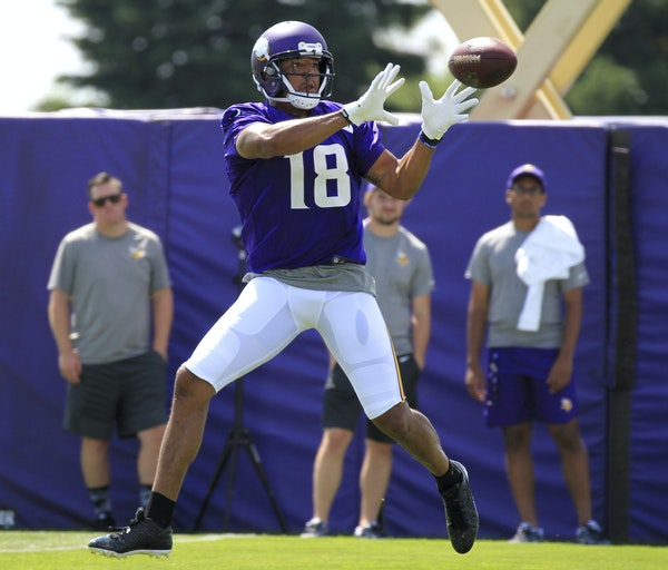 Minnesota Vikings wide receiver Michael Floyd makes a catch during NFL football training camp Thursday, July 27, 2017, in Mankato, Minn. (AP Photo/And