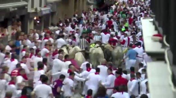 Raw: 3 gored in Pamplona's Running of the Bulls