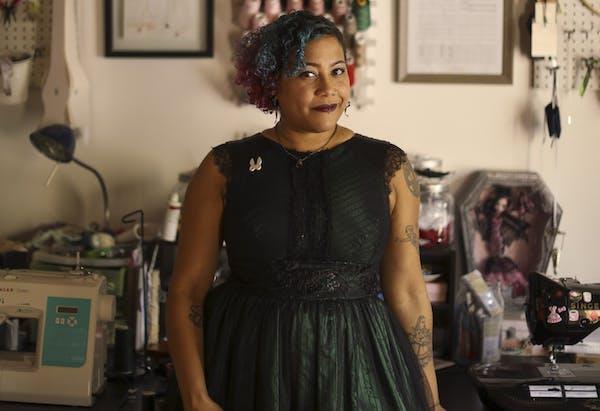 Feminine punk: Designer Samantha Rei in her North Loop studio.