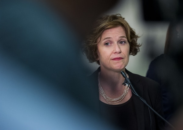 Minneapolis Mayor Betsy Hodges speaks at a press conference in July.