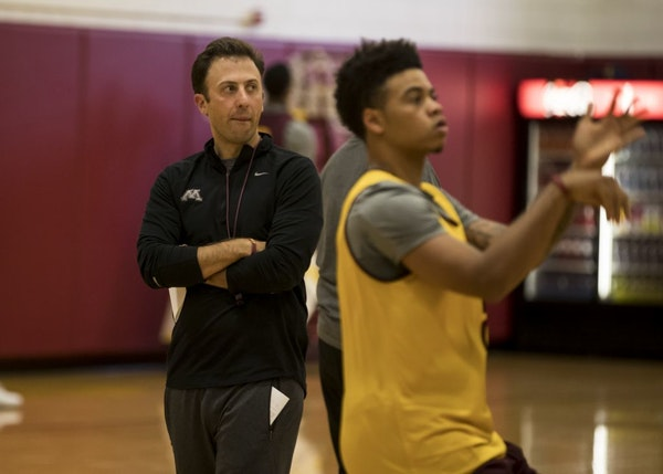 Gophers basketball coach Richard Pitino watched guard Nate Mason shoot during an October 2016 practice. Pitino and several players have had discussion