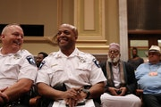 """Acting Police Chief Medaria """"Rondo"""" Arradondo laughed at the end of the public hearing Wednesday in front of the Minneapolis City Council's public saf"""
