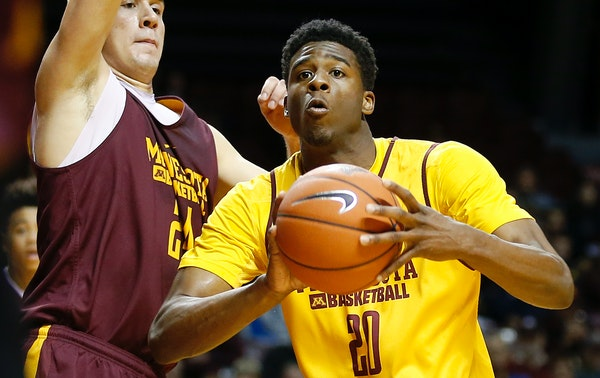 Gophers Davonte Fitzgerald (20) during a team scrimmage at Williams Arena.