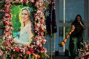 Johanna Morrow was one of two musicians to play the didgeridoo during Justine Damond's memorial ceremony Friday night at Lake Harriet Band Shell in