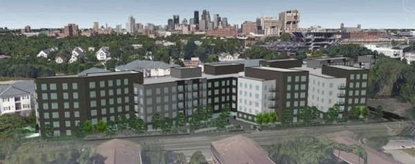 A 2016 rendering of the Prime Place apartments near the University of Minnesota.