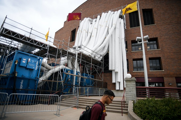 Dozens of air conditioning ducts are being run into the east side of Williams Arena to provide extra cooling power for the upcoming WNBA playoffs whic