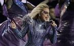 Lady Gaga performing at the Super Bowl LI halftime show in February 2017.