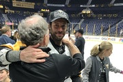 Matt Cullen got a hug from his father Terry after Pittsburgh won the Stanley Cup last season.