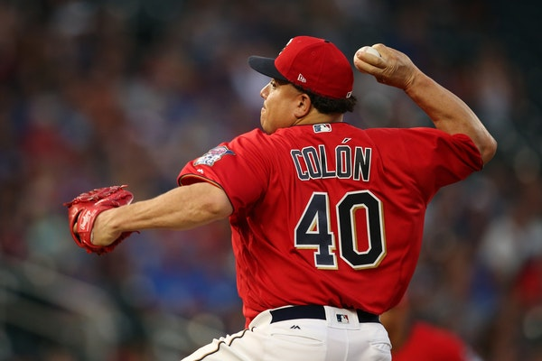 Minnesota Twins starting pitcher Bartolo Colon (40) delivered a pitch in the first inning.