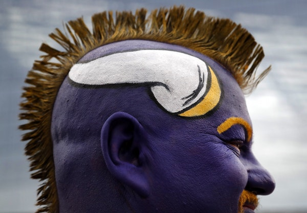 Vikings fan James Diffely, 43, of Underwood, ND, at a game in 2016.