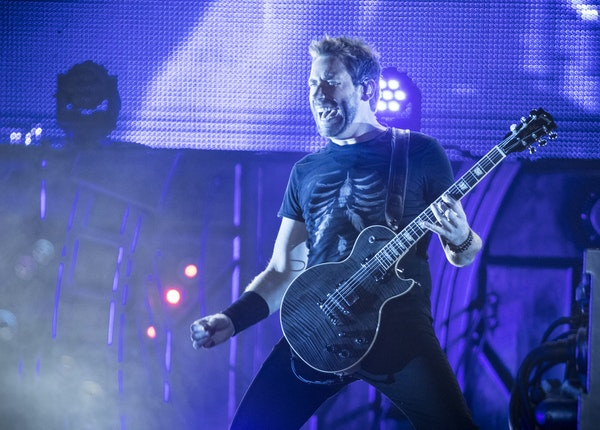 Lead vocalist Chad Kroeger performed with Nickelback at the Minnesota State Fair on Thursday.
