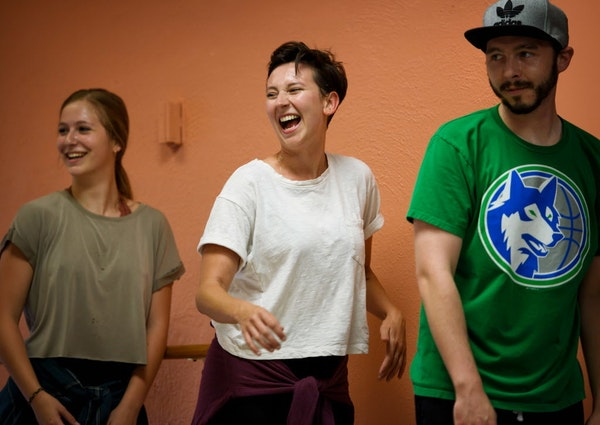 Kaleena Miller, center, worked with students Audrey Bartley, and Bruce DeMorrow in preparation for the Twin Cities Tap Festival.