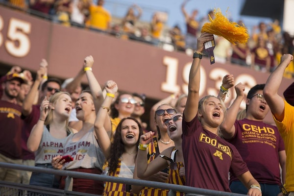 Minnesota fans cheered on the Gophers football team as they took on Buffalo at TCF Bank Stadium on August 31