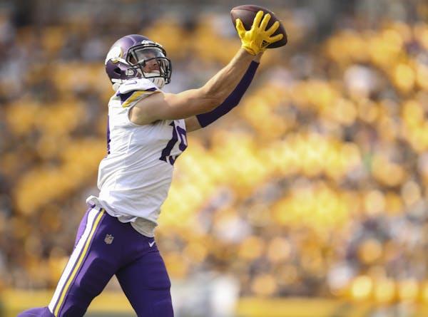 Minnesota Vikings wide receiver Adam Thielen caught an eight yard pass from quarterback Case Keenum for a fourth quarter first down. ] JEFF WHEELER ï